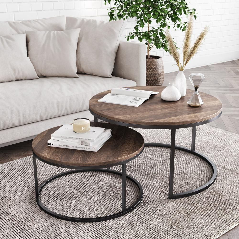 Nathan James Stella 18 in. Warm Nutmeg and Black Industrial Wood Stacking Round Nesting Coffee Table (Set of 2)-34001 - The Home Depot