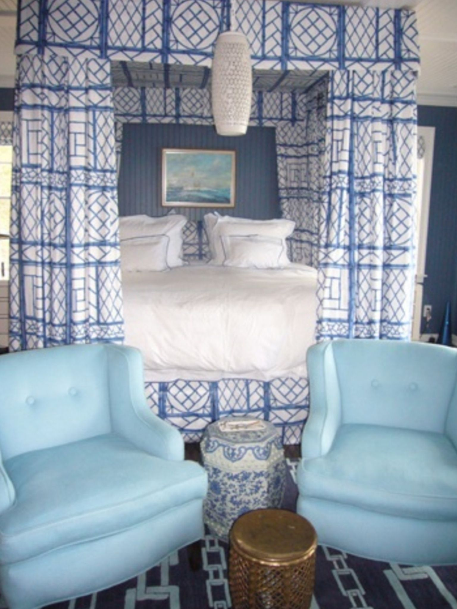 Canopy Big BedroomsBlue White Pin