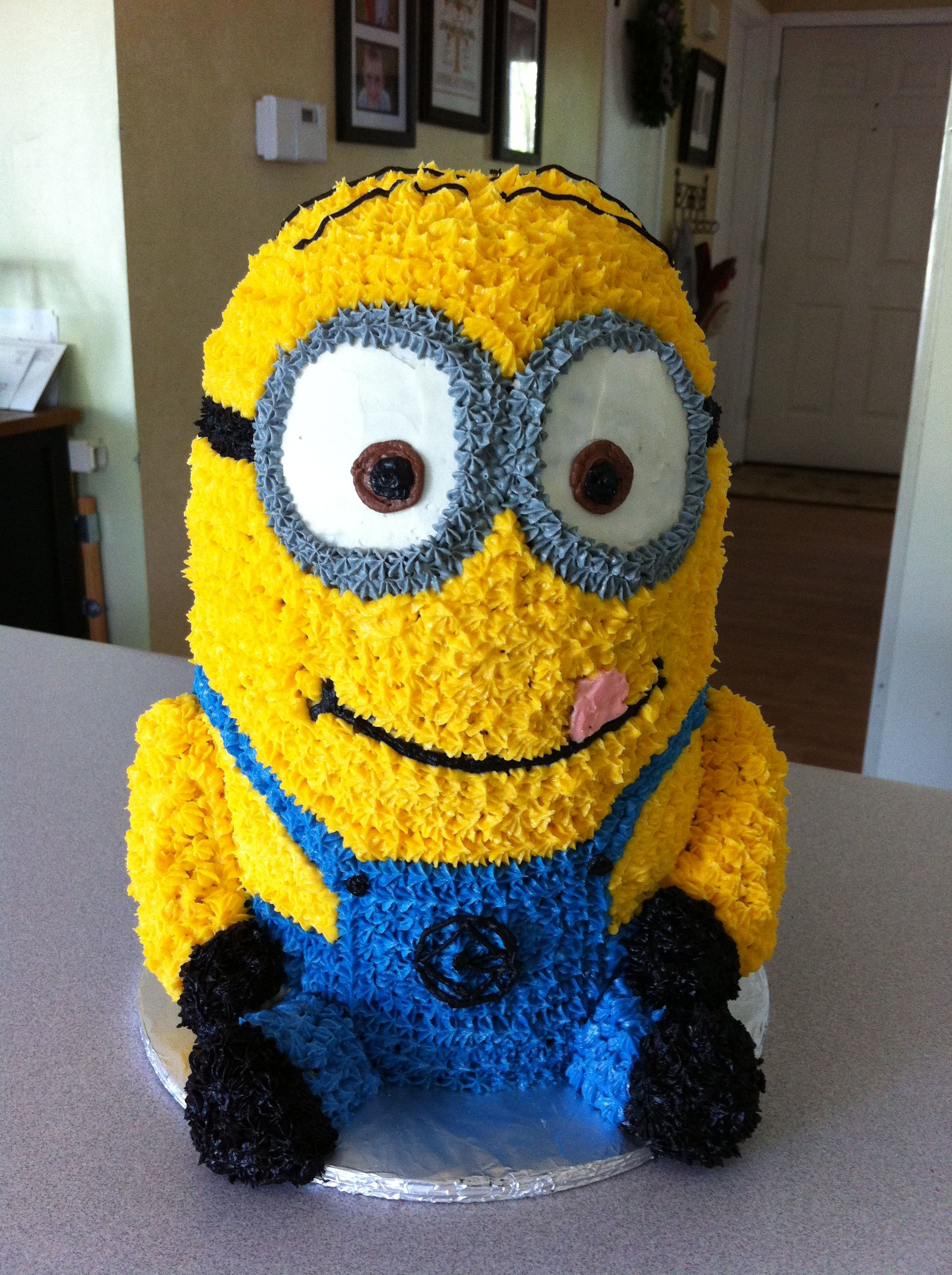 Minion cake made with buttercream icing By