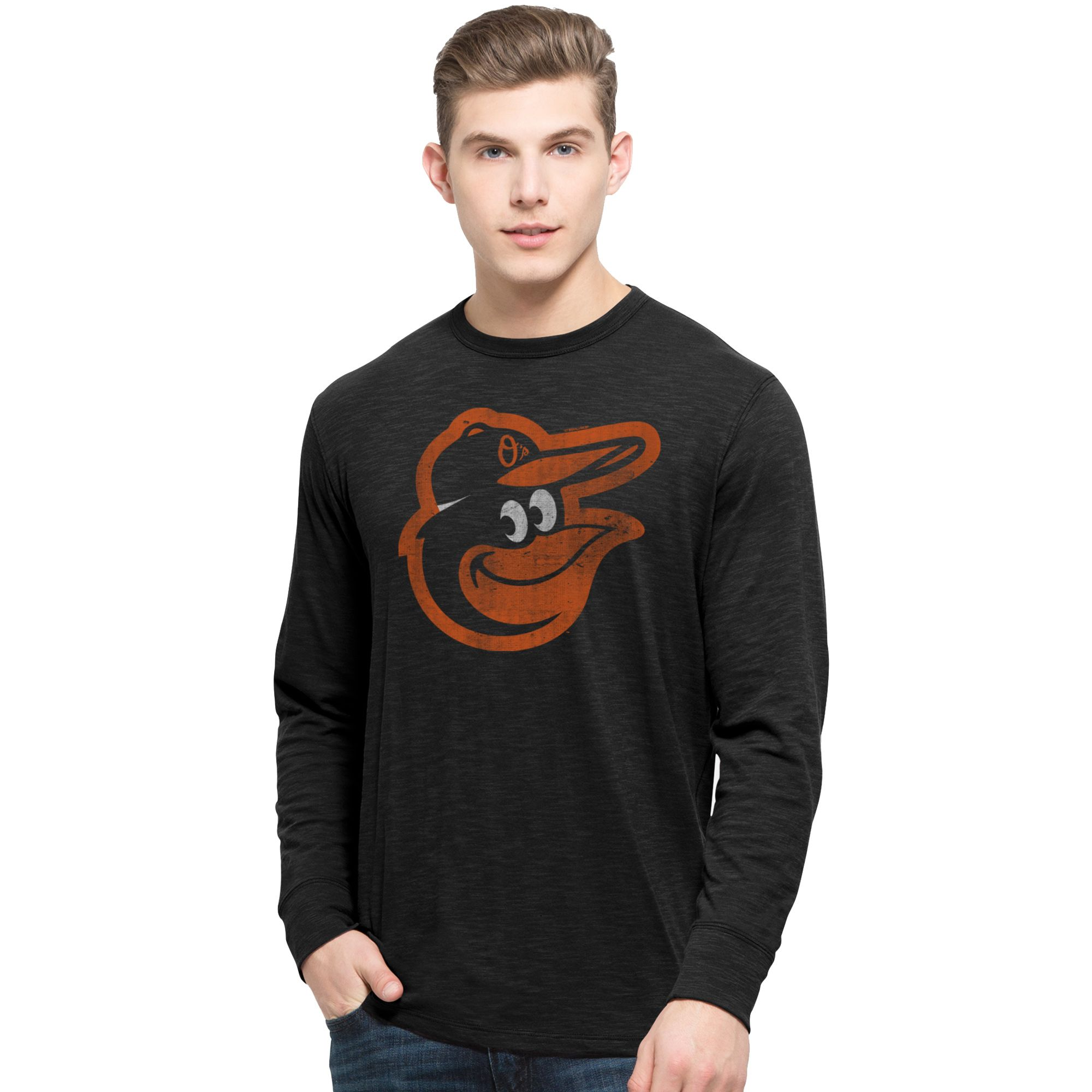 MLB Baltimore Orioles '47 Basic Logo Long Sleeve Scrum T-Shirt - Black