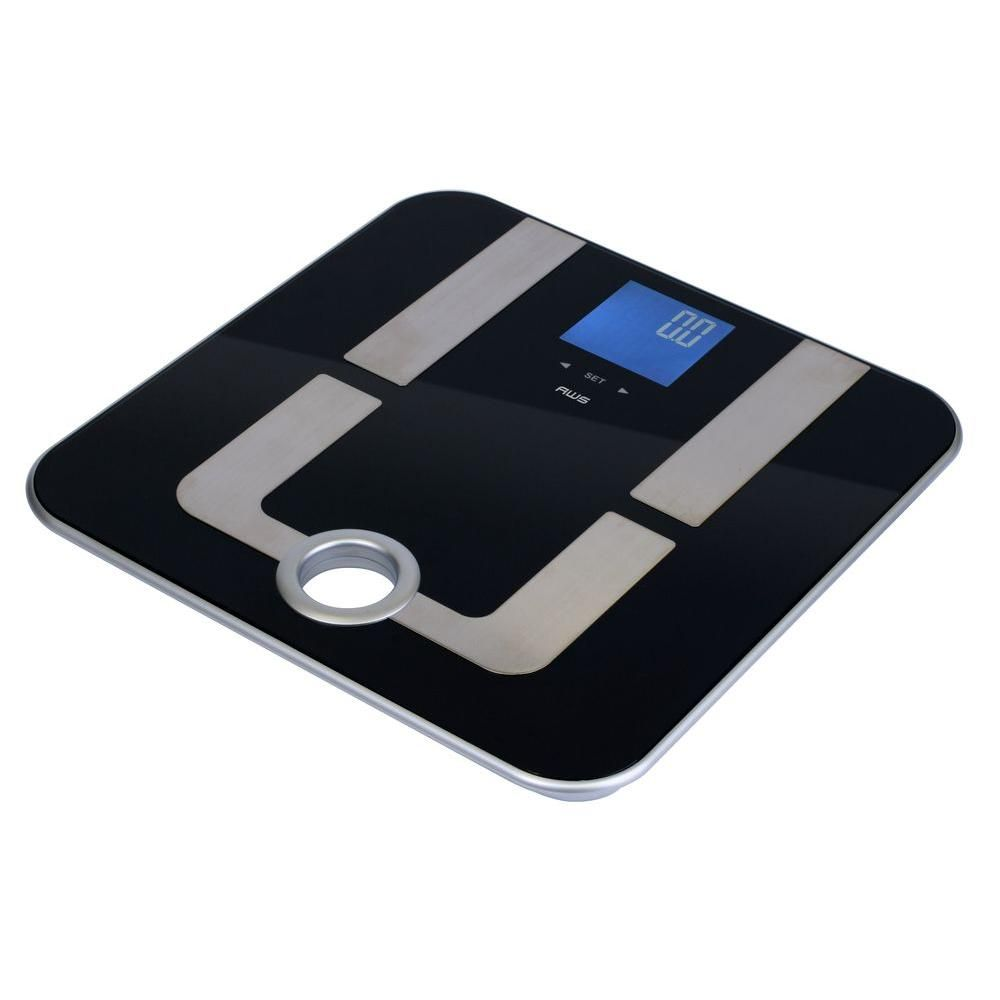 American Weigh Scales Mercury Pro Digital Body Composition Bathroom Scale, Black Tempered Glass And Stainless Steel