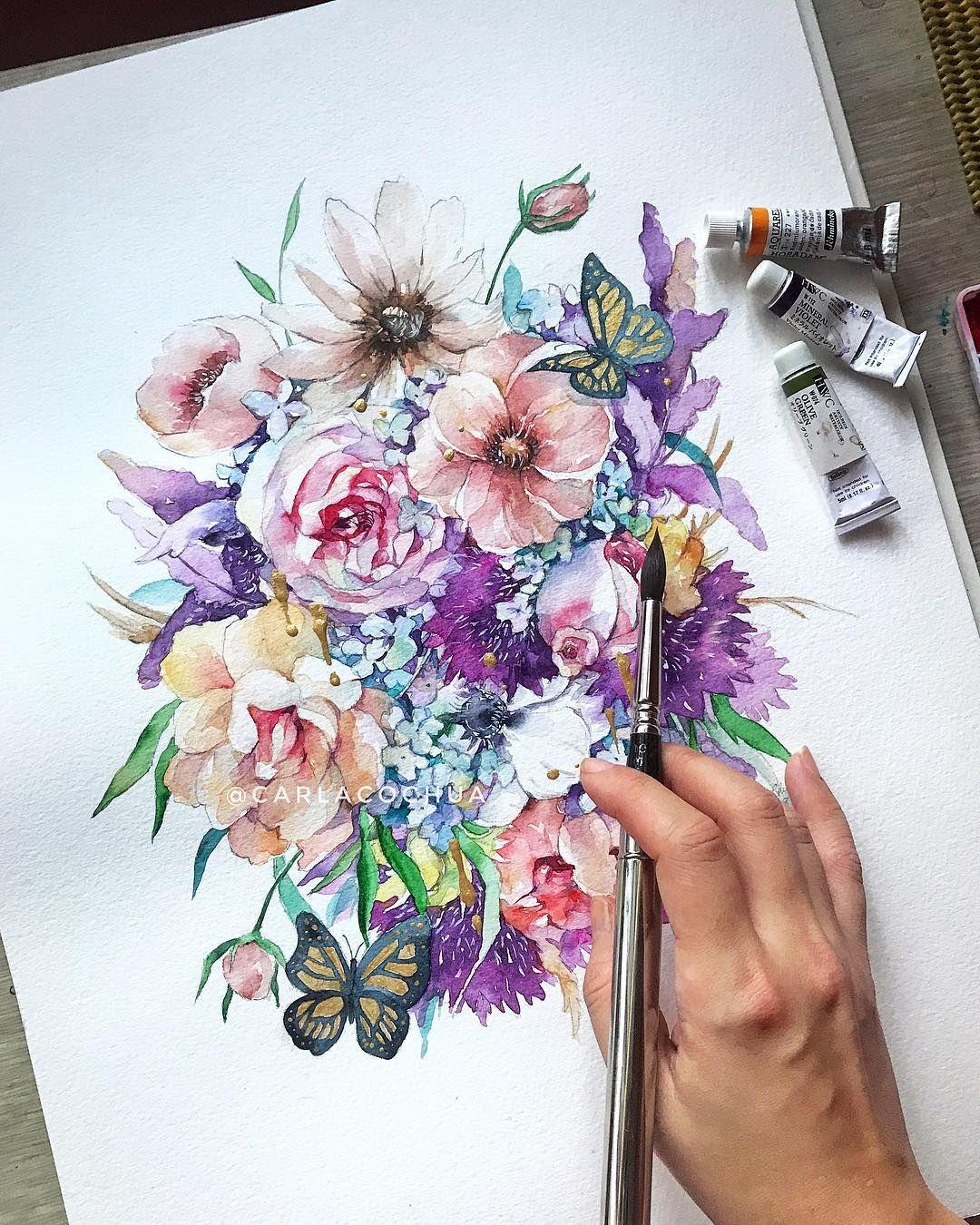 Violet Portfolio Flowerdance Peonies Holbein Watercolor