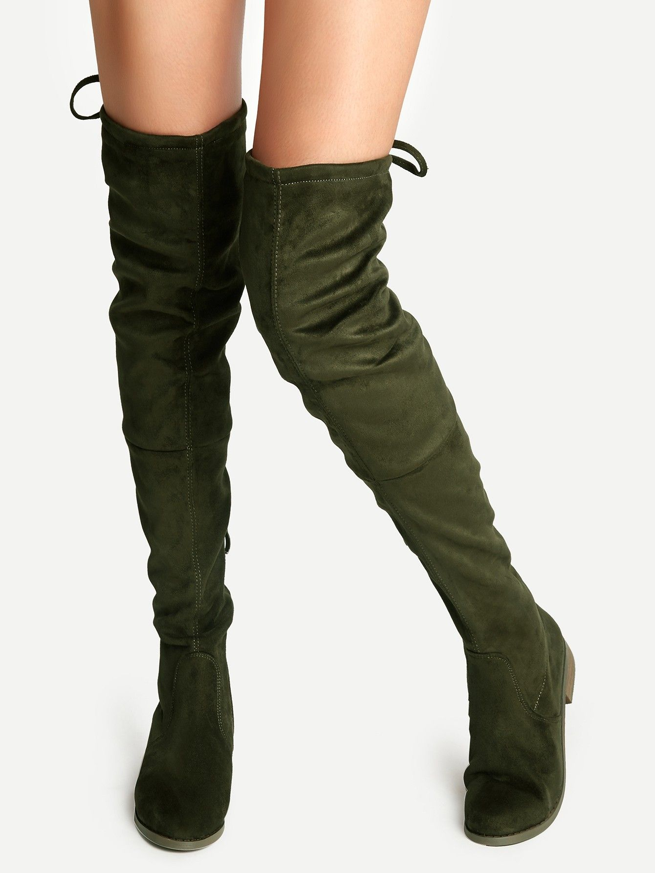 85e186660ff Olive Green Faux Suede Lace Up Over The Knee Boots