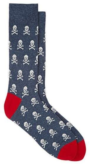 4b7c1ab75d911 Corgi Men's Skull-Pattern Cotton-Blend Mid-Calf Socks - Black ...