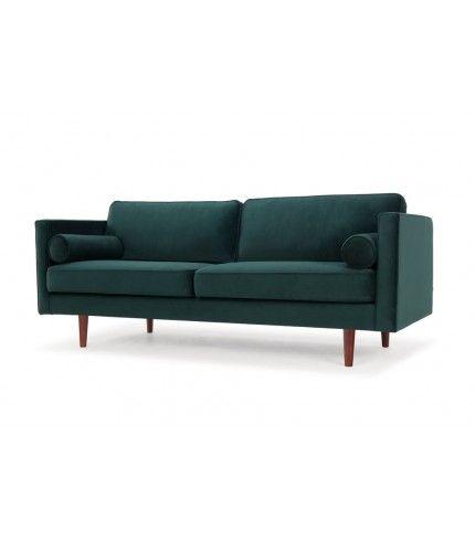 Harper, 3-seater sofa, Velour Dark Green, Walnut Stained Legs