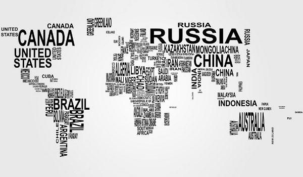 Free Vector World Map: Countries in Word Cloud | pom | World