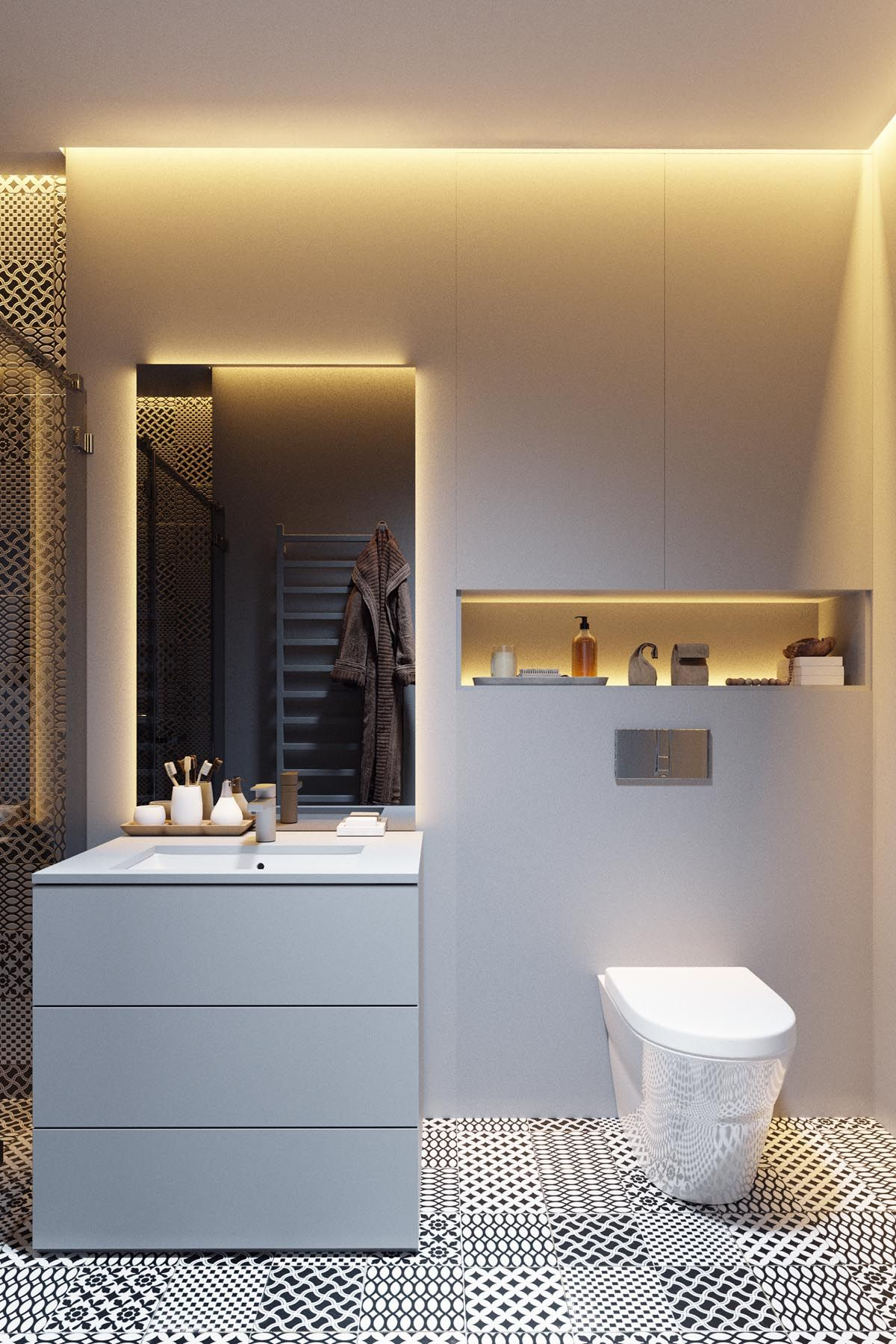 Dark Grey Home Decor With Warm LED