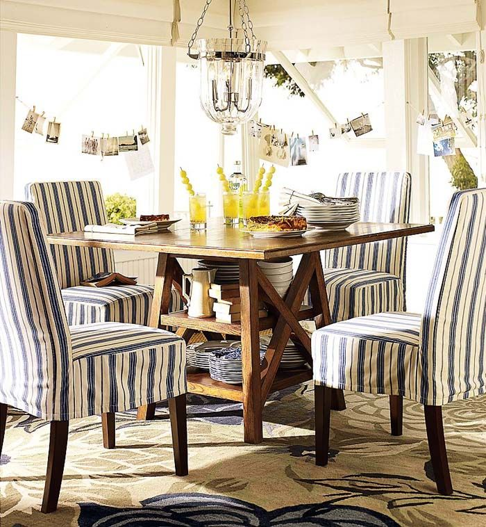 Slipcover chairs in color and pattern A