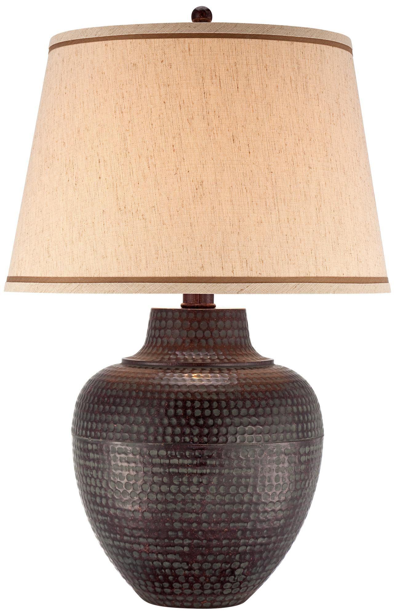 Bronze Hammered Metal Pot Table Lamp T8750 Lamps Plus Lamp Hammered Metal Ceramic Lamp