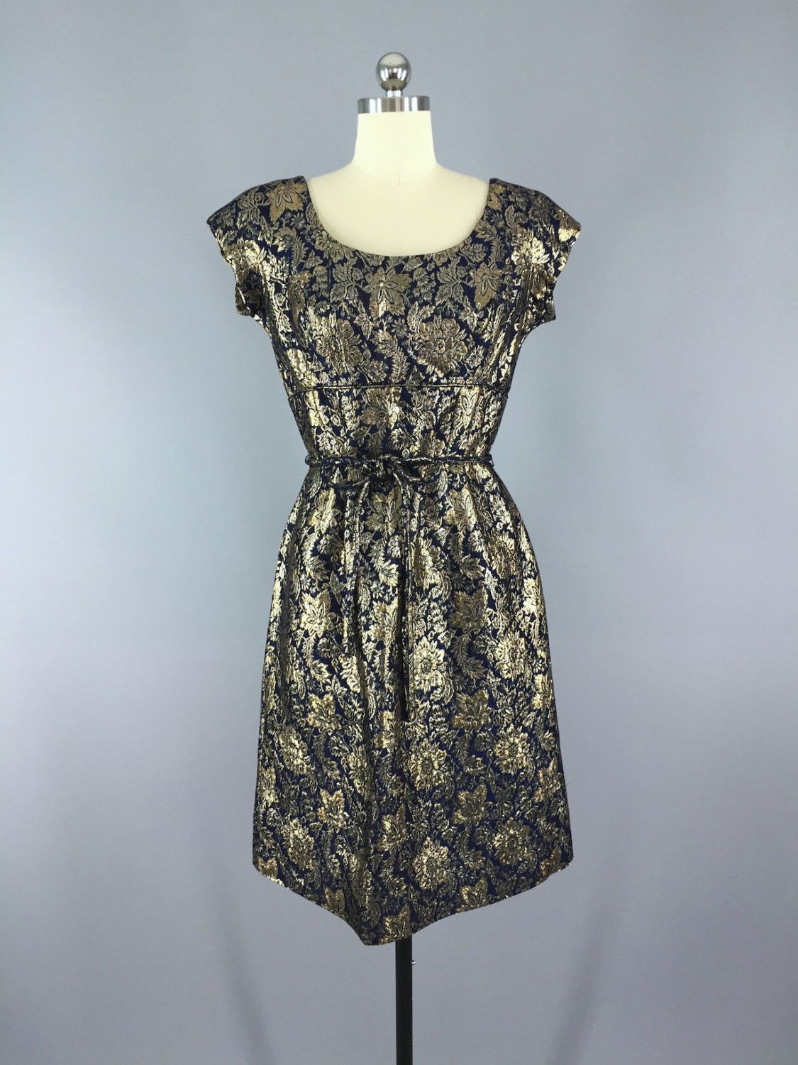 1950s Vintage Harmay Blue and Gold Brocade Party Dress | 1950s ...