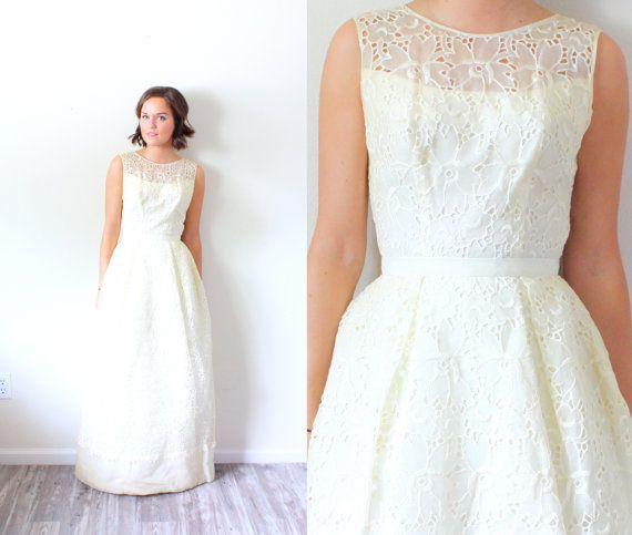 Vintage Hochzeitskleid Lace Illusion Hals Von Beigevintageco