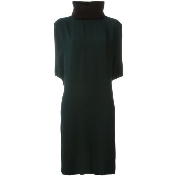 Marni roll neck dress ($1,215) ❤ liked on Polyvore featuring dresses, green, back zipper dress, knee length shift dress, cotton shift dress, green sleeveless dress and sleeveless dress