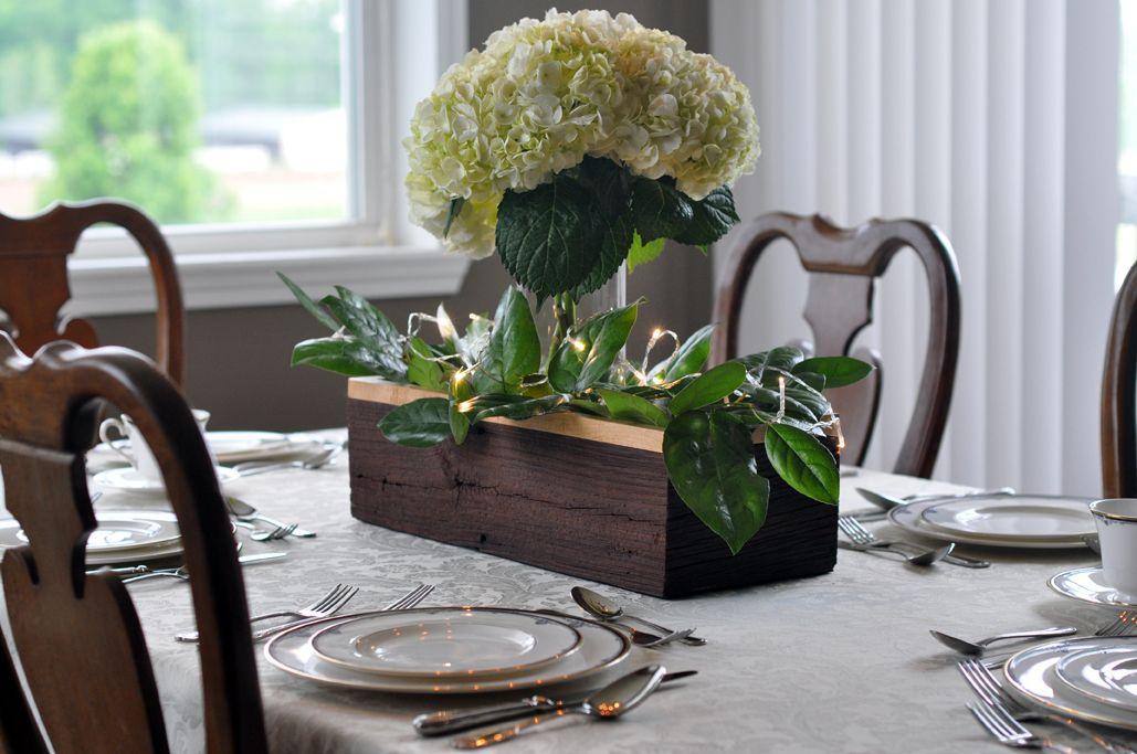 Barn wood table trough centerpiece barnwood hydrangea