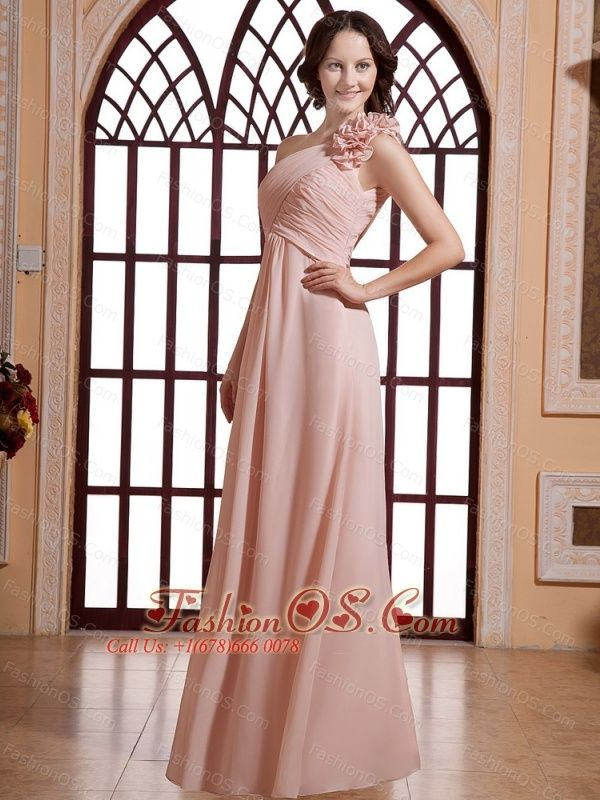Hand Made Flowers Decorate One Shoulder and Baby Pink For Prom Dress- $133.29  http://www.fashionos.com  http://www.facebook.com/prom.fashionos.us  This amazing long prom dress will make you feeling and looking like royalty. This elegant prom dress features a one-shoulder bodice and the floor-lengh skirt. The hand flowers adorn the one shoulder. With the fitted bodice, your female pretty is funly presented. And the floor-length skirt achieve a fine look and comfortable feeling.