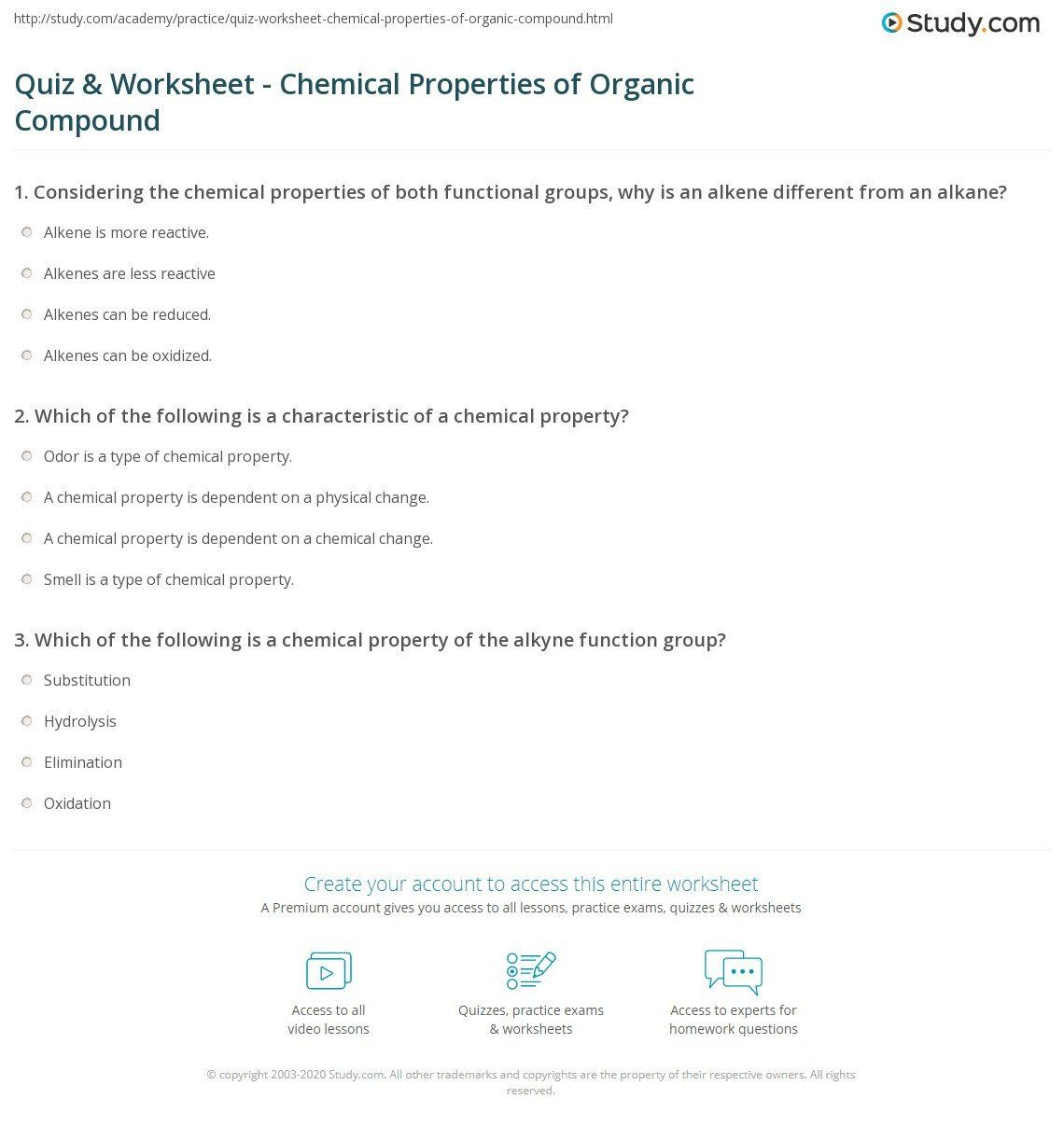 Organic Compounds Worksheet Answers Quiz Amp Worksheet