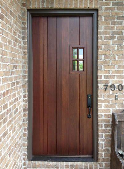 80 Alluring Front Door Designs To Refine Your Home: Custom Craftsman Door With Small Window Entry In 2020
