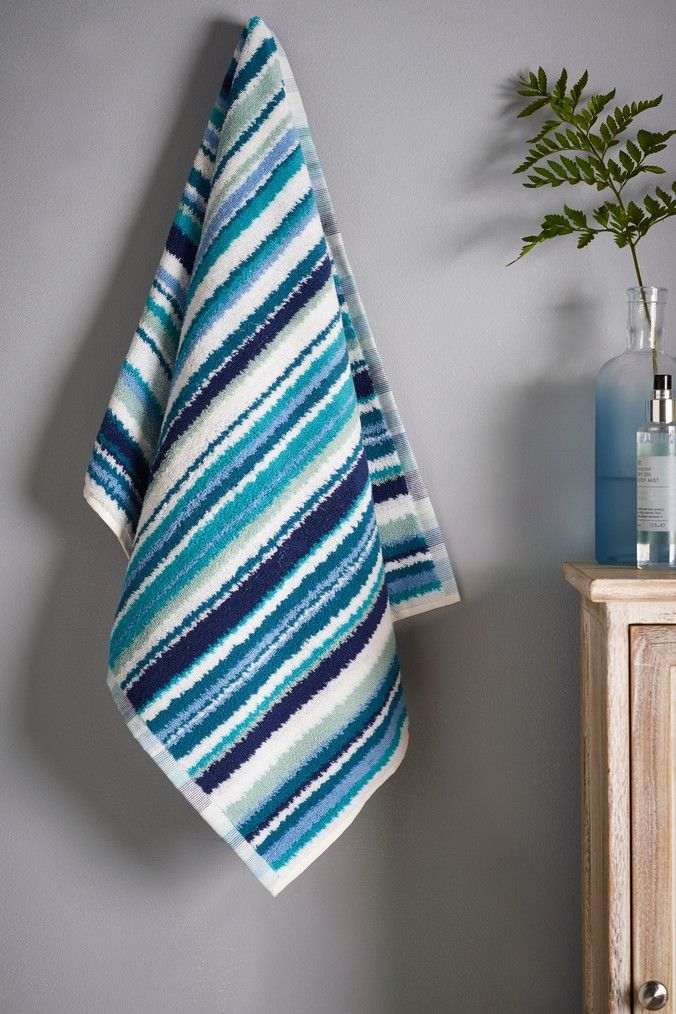 Next Stripe Towel Teal Striped towels, Towel, Stripe