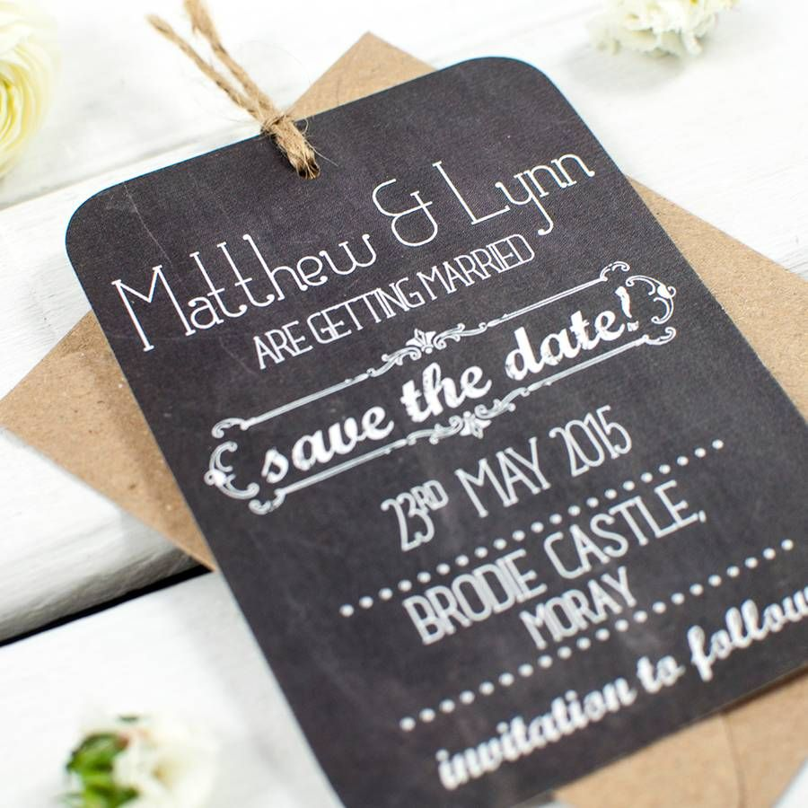 sample wording for save the date wedding cards%0A Chalkboard Save The Date