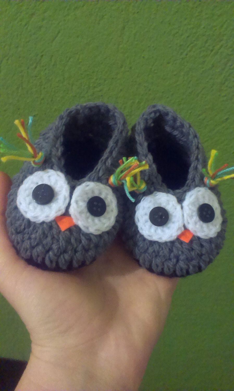 Crochet baby boy owl slippers by CrochetCookies on Etsy, €4.99