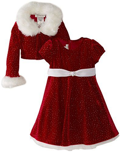 Bonnie Jean Girls Christmas Dress Velvet Sparkle Dress with Jacket size7 *  Learn more by visiting the image link. - Bonnie Jean Girls Christmas Dress Velvet Sparkle Dress With Jacket