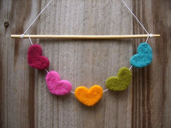 more needle felted hearts