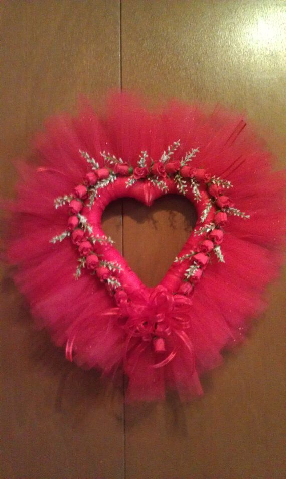 17 Heart Shaped Valentine Tulle Wreath by