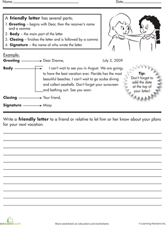 How To Write A Friendly Letter Worksheet Education Com Friendly Letter Writing Letter Writing For Kids Informal Letter Writing