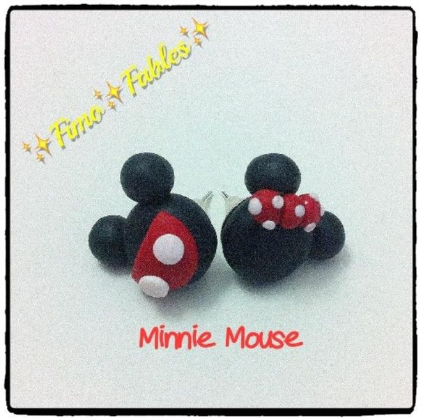 Orecchini A Lobo In Fimo Dis. Minnie-Mouse Di Fimo Fables