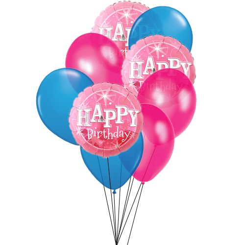 say happy birthday with 3 mylar balloons pink 3 balloons