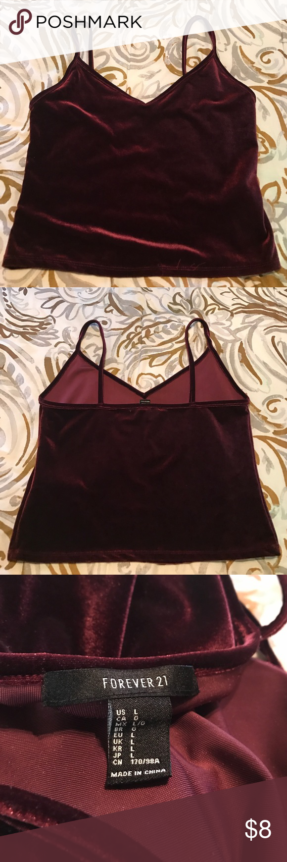 ff41544c82ca40 Burgundy cropped velvet tank top size Large Burgundy velvet cropped top  size Large Forever 21 Tops Tank Tops