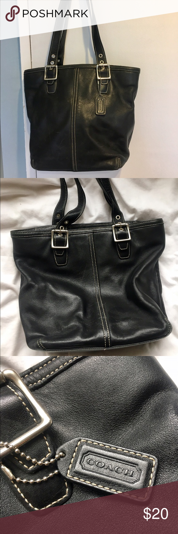 COACH Black Leather Bag Classic Coach black leather bag. Slight scratches  from use. But a935068ed187b