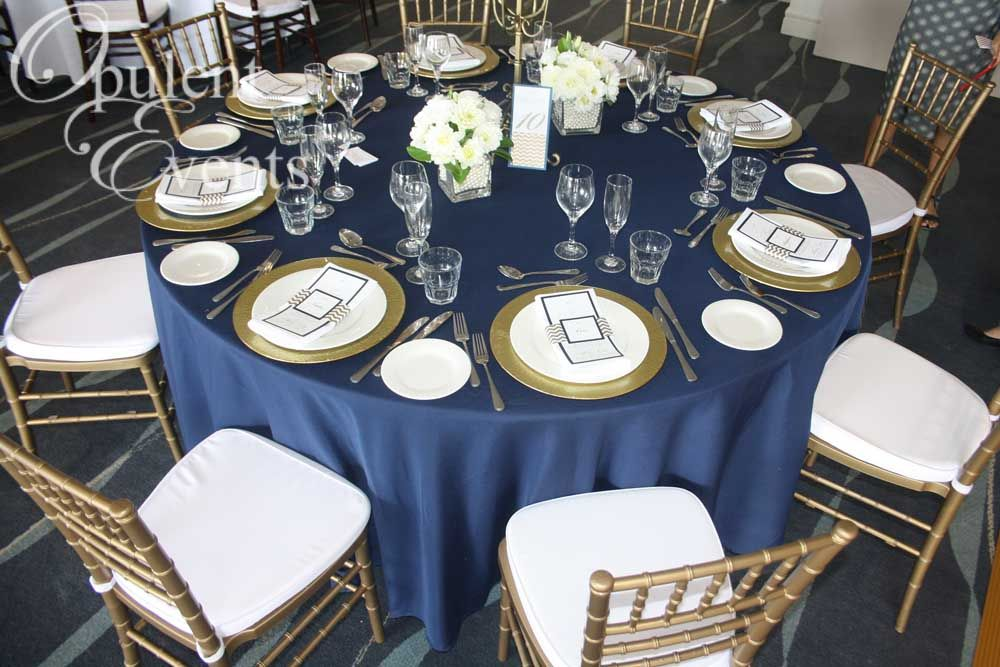 Gold and Navy Wedding Gold Tiffany Chair, Navy linens