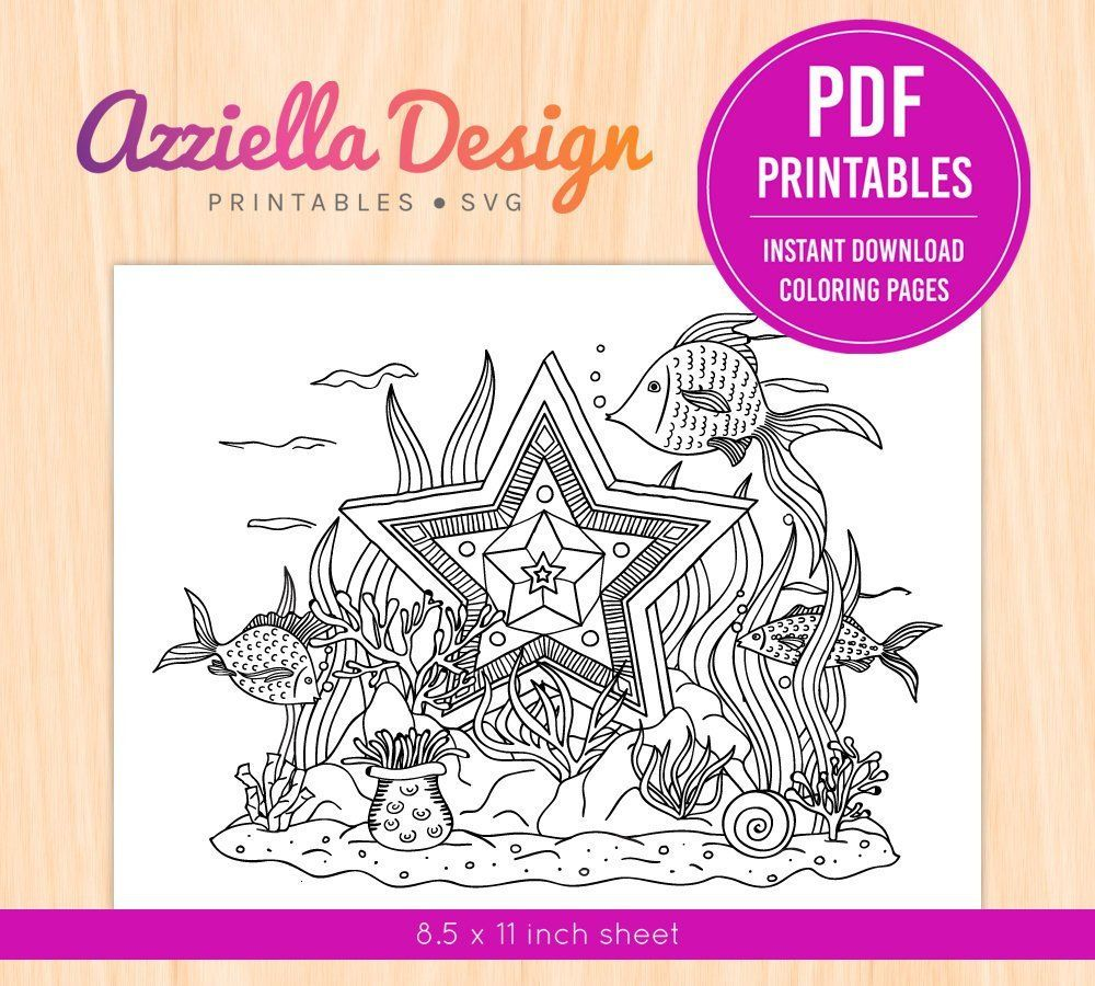 Printable PDF PNG Children Adult Coloring Page Underwater