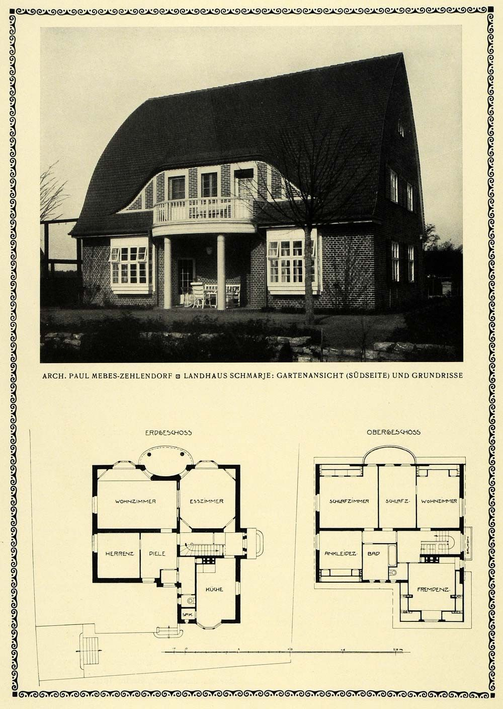1913 Print Garden View Floor Plan Architecture