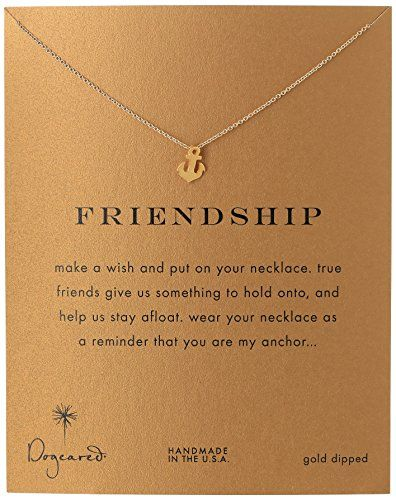 "Dogeared Jewels and Gifts ""Friendship"" Gold-Plated Sterling Silver Smooth Anchor Pendant Necklace"