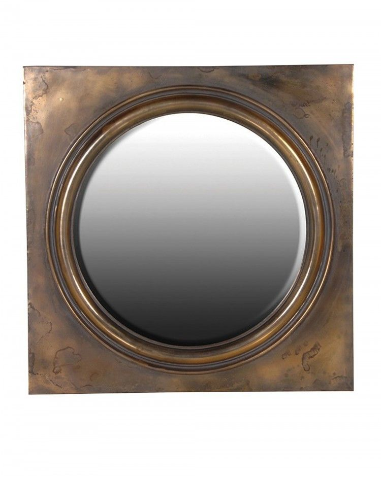 ae5a619e31d9 Ogston Large Contemporary Round Bevelled Glass Wall Mirror Square Frame  Antiqued Bronze Finish