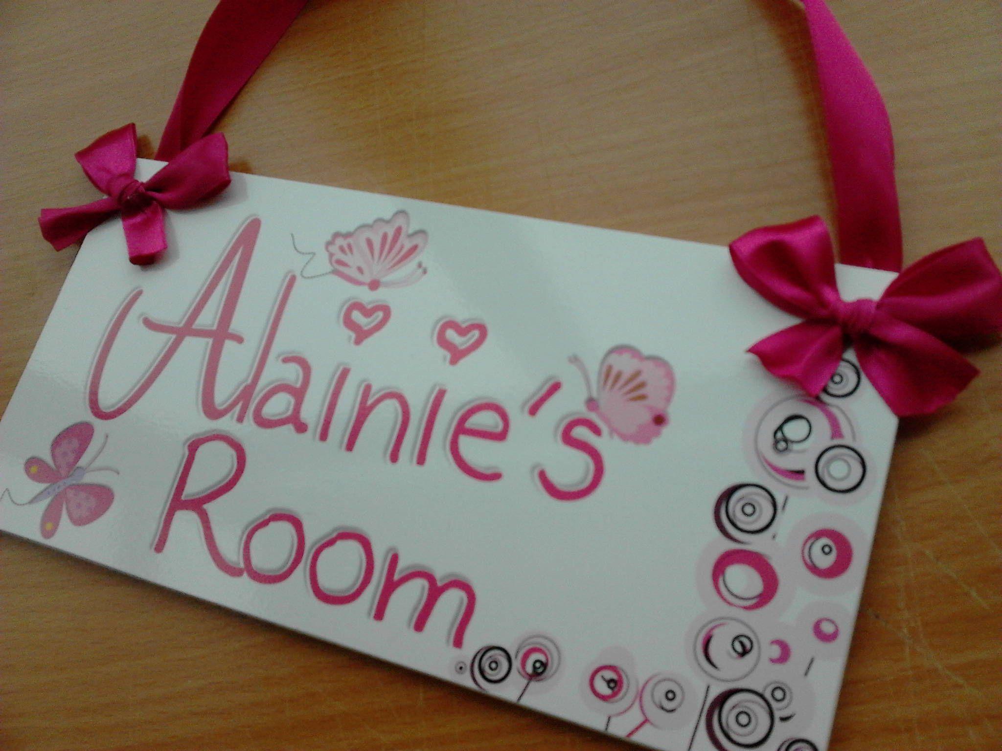 Butterflies themed personalized girls door sign baby room decor