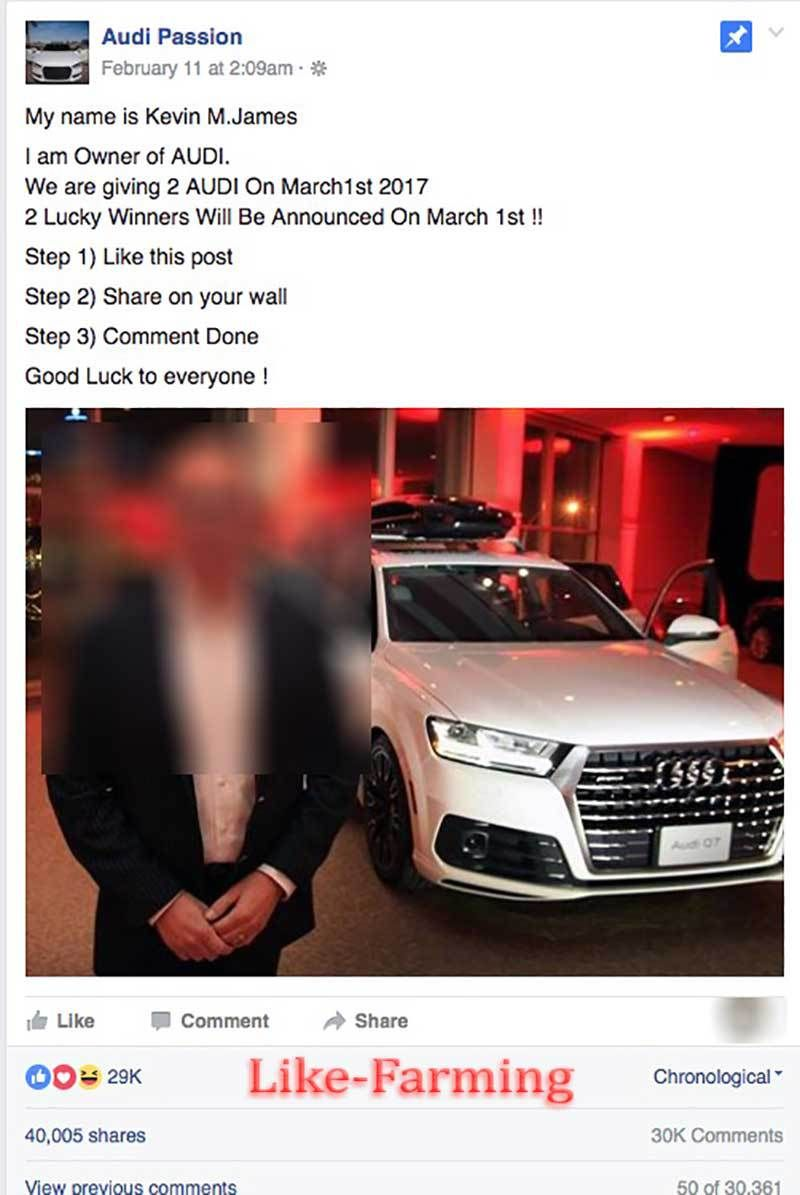 No The Owner Of Audi Is NOT Going To Give You A Car For Liking - Audi car giveaway