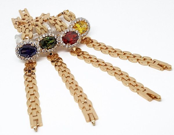 1-0663-f10 18kt Brazilian Gold Plated Fancy Colored CZ and White Accents Bracelet. 7.5 inches.