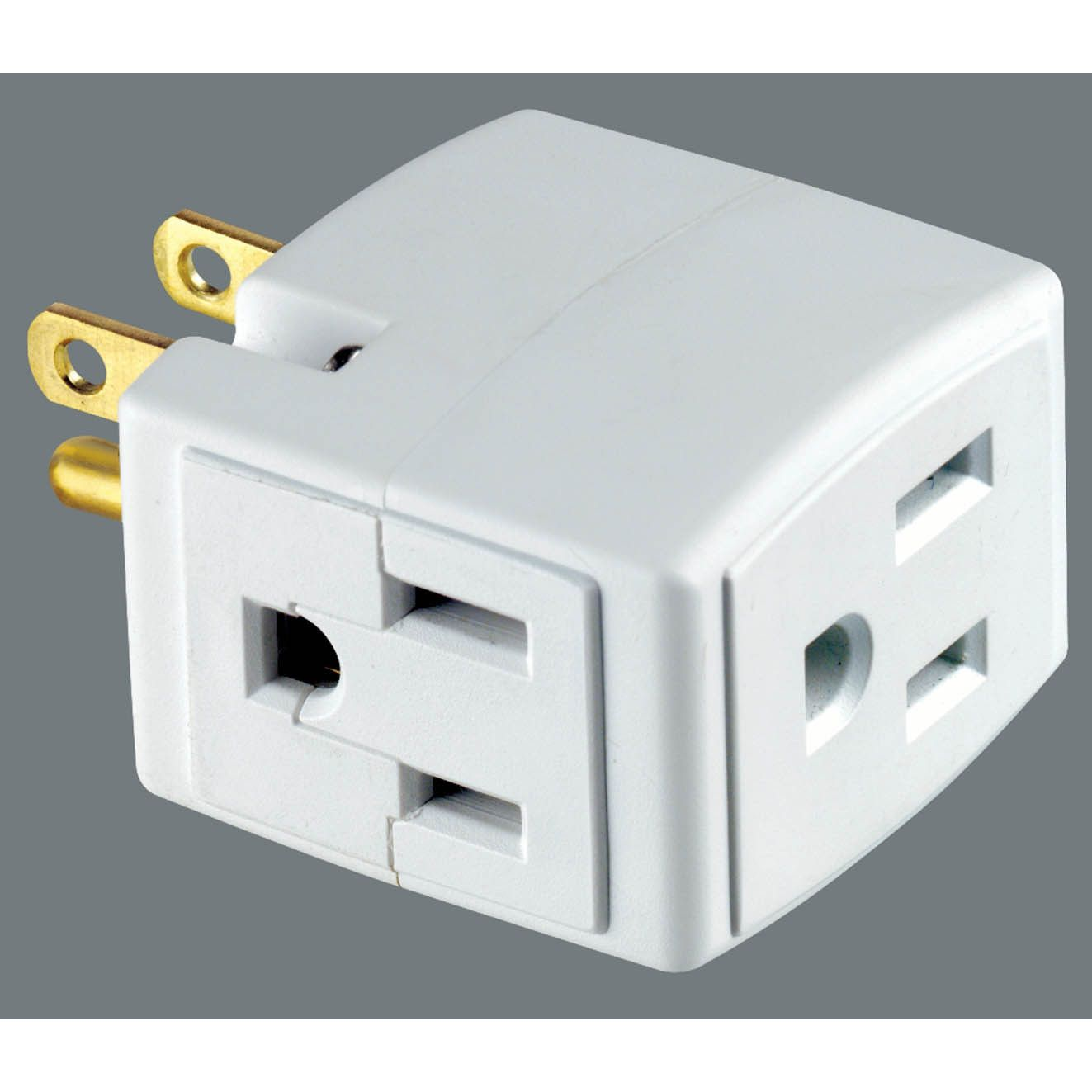 Leviton C22-00692-00W Plug-In Outlet Adapter Single To Triple Tap ...