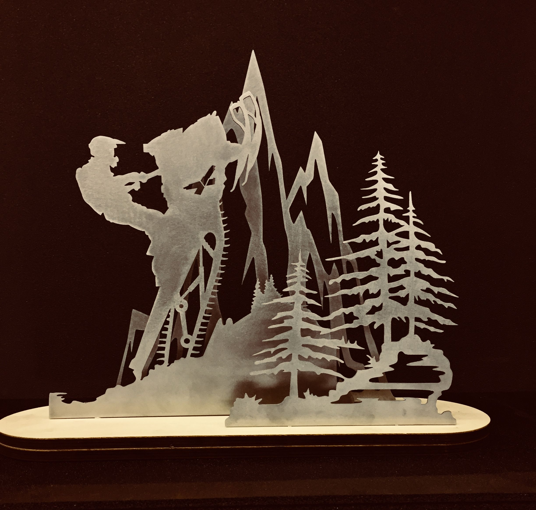 Snowmobile Skidoo Summit Lasercut Laser Mountain Scene Snowmobile Skidoo Art Snow Pony Mountain Drawing