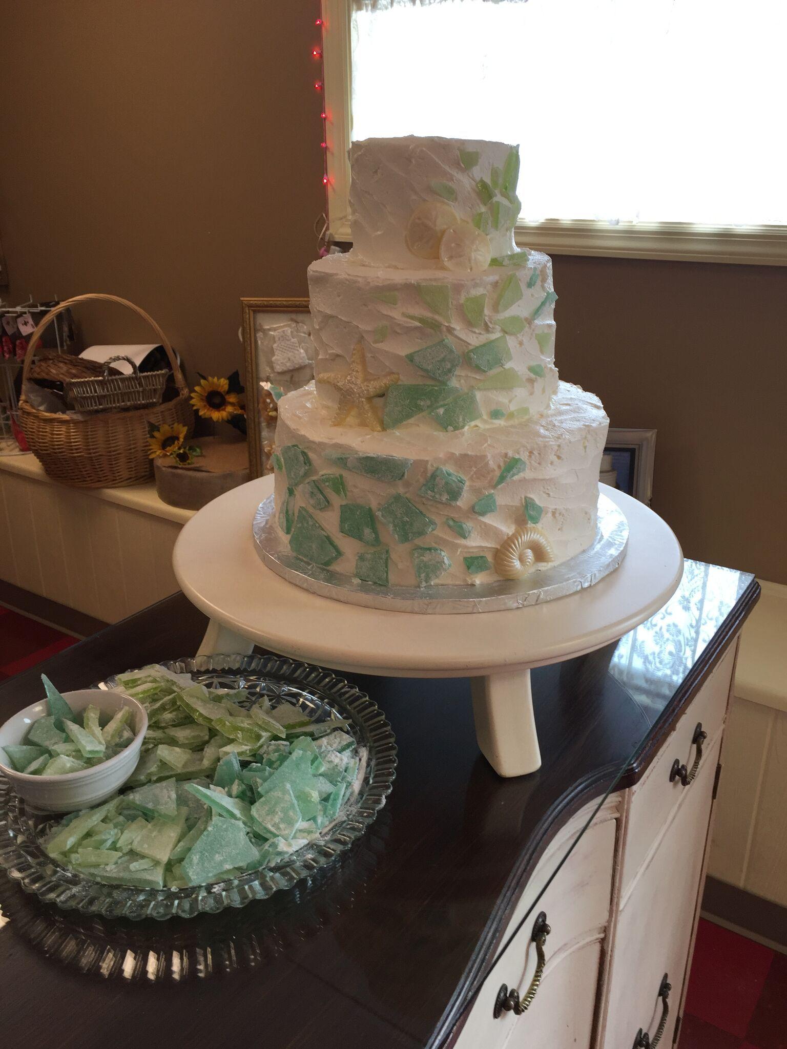 Broken sea glass wedding cake with edible broken glass