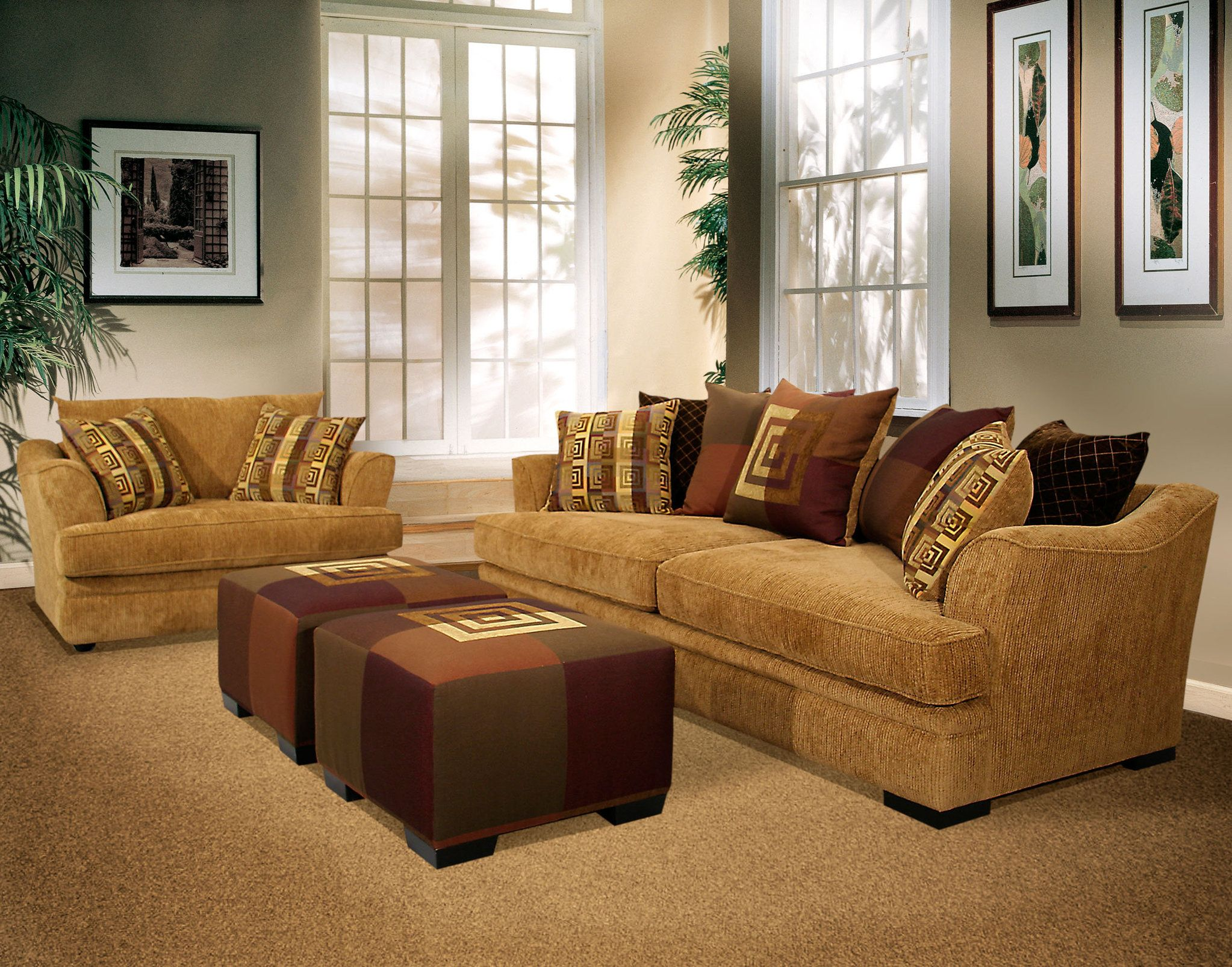 Fabric Sets Classic Two Cushion Seat Sand Colored