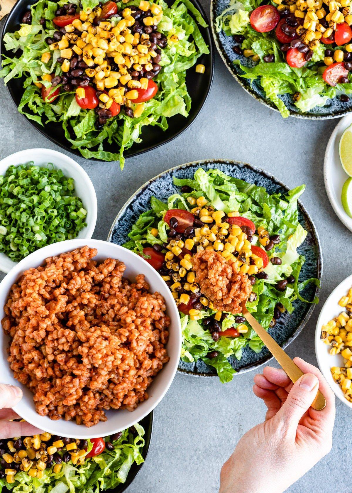 Ridiculously Big Vegetarian Taco Salad Hello Veggie Recipe Vegetarian Taco Salad Vegan Recipes Healthy Vegan Salad Recipes