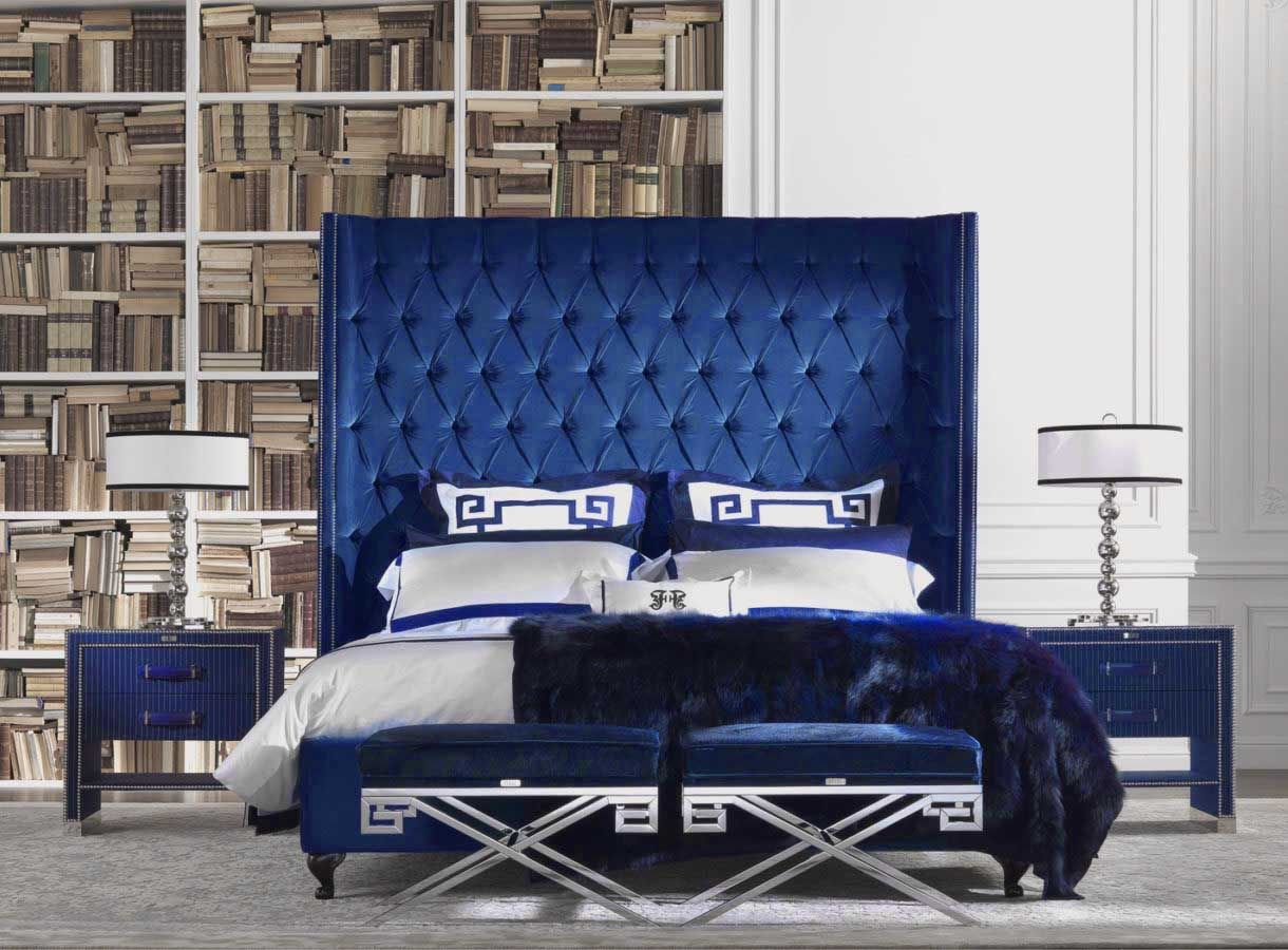 Beautiful Navy Blue Bedroom Decor With Navy Blue Tufted Bed And