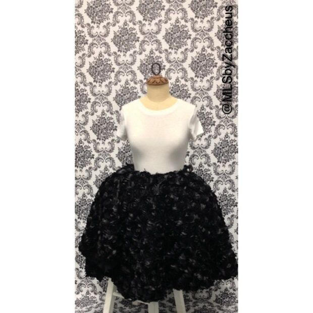 Satin Black Rose Petal Skirt Available In Mid Length Or Floor - Length of usa in miles