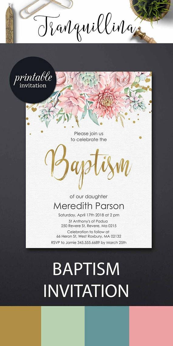 Succulent Baptism Invitation Baptism Party Invitation Girl ...