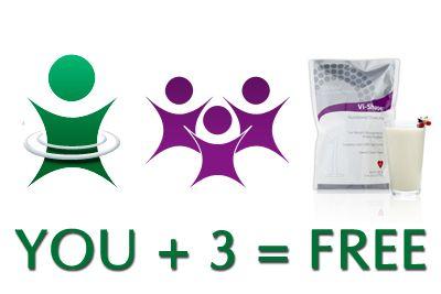 Refer three friends and get your challenge kit for free! www.angierhoads.myvi.net #bodybyvi #visalus #theshakethattasteslikecake #90daychallenge #thechallenge #loseweight #gethealthy #newyearnewyou