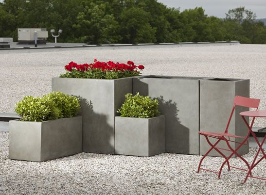Modular Lite Planter 2 (Tall Square) Fliberglass Planter in Concrete by Campania International