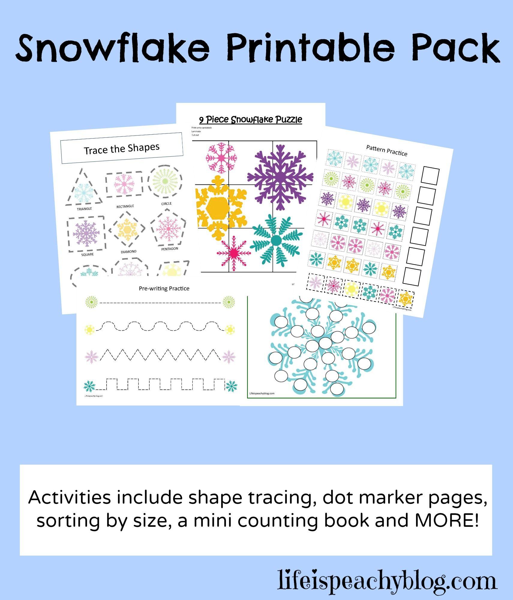 Snowflake Free Printable Kindergarten Worksheet